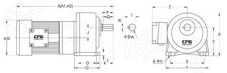 cpg高速比型减速电机的cad尺寸图
